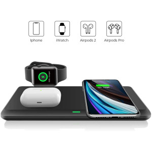 Wireless Charger,QI-EU 3 in 1 Wireless Charging Station for iPhone 11/11pro/Se/X/XS/XR/Xs Max/8/8 Plus Apple Watch AirPods 2/Pro, Wireless Charging Pad for Samsung Galaxy S20/S10