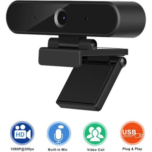 Webcam with Microphone, USB Computer Camera, 1080P HD Streaming Computer Web Camera for Laptop Desktop Video Calling, Recording, Conferencing, Gaming Upgraded Version