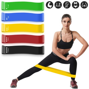 MMIZOO Resistance Loop Exercise Bands Set of 5 Fitness Bands Perfect for Legs and Butt Yoga Crossfit Strength Training Pilates with Instruction Guide, Carry Bag