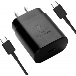 USB C Super Fast Charging PD 25W Wall Charger for Samsung Galaxy Note10 / 10+ / S20 Ultra / S20 plus / S20 5G and S10 Lite / Note 10 Lite / 2018 iPad Pro 11/12.9 USB Type C to USB Type C Cable (Black)
