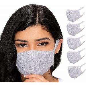 5 Pack Grey Adult Unisex Reusable And Washable Cotton Face protect - Face protect for Dust, Outdoors, Festivals, Sports - Black Double Layer Cloth Mask Made in USA Ships from Los Angeles