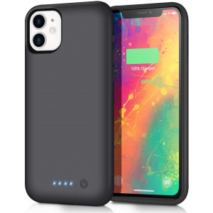 voo Battery Case for iPhone 11, Upgraded 6800mAh Extended Rechargeable Charging Case Protective Portable Battery Pack for iPhone 11 External Charging Cover 6.1 inch Smart Case - Black