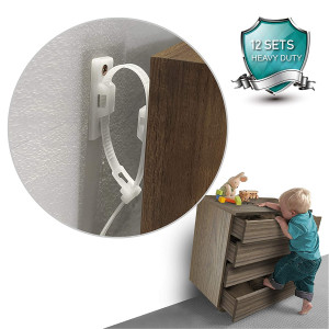 NASHRIO Furniture Straps (12 Pack) Anti Tip Furniture Anchors Kit for Baby Proofing, Cabinet Wall Anchors Protect Toddler and Pet Cabinet Adjustable Child Safety Straps, Heavy Duty Materials