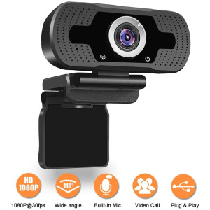 1080P Webcam, NP HD PC Webcam USB Mini Computer Camera Built-in Microphone - USB Web Camera for Live Streaming, Video Calling and Recording - Computer PC Desktop Laptop with 110 Wide View Angle A-A1