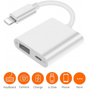 USB Camera Adapter with Charging Port, USB OTG Cable Compatible with iPhone SE/11/11 Pro/11 Pro Max/XS/XS Max/XR/X/ 8/8 Plus/ 7/7 Plus/iPad,USB Flash Drive, Camera,Card Reader, MIDI Keyboard