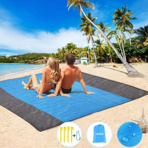 """HEHUI Sand Free Beach Blanket, Extra Large Sand Free Beach Mat 82""""x79"""",Portable Sand Proof Beach Blanket for Beach,Camping,Hiking and Picnic- Lightweight Quick Drying Heat Resistant"""