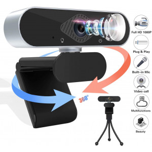 Webcam - HD 1080p USB Camera Microphone HD Full Widescreen Web Camera, Laptop Camera USB PC Computer Video Webcam 120-Degree View, Pro Streaming Webcam for Recording, Calling, Conferencing, Gaming