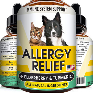 GOODGROWLIES Allergy Relief Drops for Cats and Dogs - Non-GMO - w/Elderberry, Turmeric and Milk Thistle - Made in USA - Itchy Skin Relief Immune Supplement - Pets Shedding, Hot Spots Remedy - 2oz