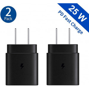 Samsung USB-C Super Fast Charging Power Adapter-25W PD Charger Block for Galaxy Note10 S10+ S20 S9 S8,iPhone 11 ProMax Xs Max XR X, iPad Pro, Google Pixel 2 4 3a XL, LG and More(2 Pack)