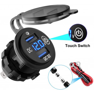 LiDiVi [Upgraded Version] Quick Charge 3.0 Dual USB Car Charger, Waterproof 36W 12V USB Outlet Fast Charge with Voltmeter and Switch for 12V/24V Car Boat Marine ATV Bus Truck and More
