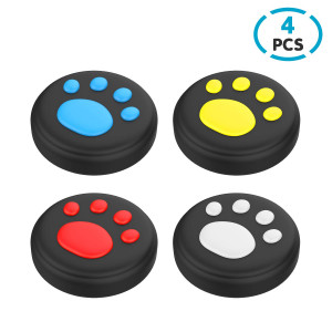 DiMiK Thumb Grips for Switch and Lite, Cat Paw Puppy Paw Cute Silicone Joystick Covers Caps for Nintendo Switch/ Switch Lite Joy-Con Controller (Black)