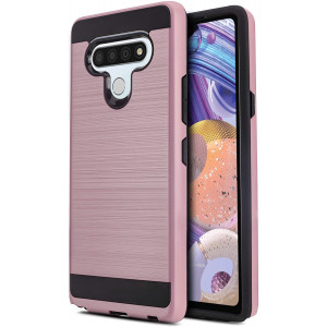 CasemartUSA Phone Case for [LG Stylo 6], [Protech Series][Rose Gold] Shockproof Brushed Hybrid Slim Protective Cover for LG Stylo 6 (Boost Mobile, Sprint, T-Mobile, Metro)