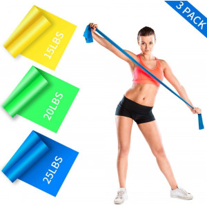 GYTF Long Resistance Bands Set, 3 Pack Latex Workout Bands with 3 Resistant Levels, Skin-Friendly Elastic Exercise Bands with Portable Pouch for Home Fitness, Strength Training,Physical Therapy,Yoga