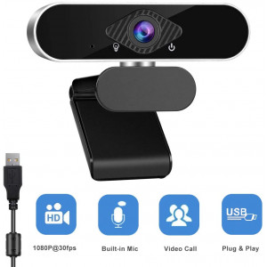 1080p Webcam with Microphone 360 Degree Rotation USB Webcam Plug and Play for Computer Camera with 110-Degree Wide View Angle for Desktop, Laptop,Video Calling Recording Conferencing