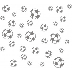 JUEKUI Set of 37pcs Soccer Ball Sticker Vinyl Wall Decals for Kids Rooms Bedroom Soccer Fans Home Decor 5 inch 4 inch 3 inch 2 inch WS28 (Grey)