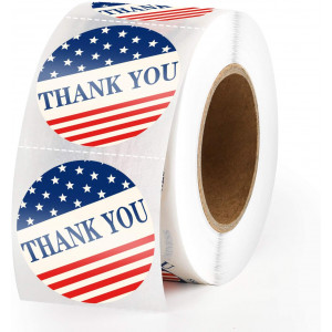 """Methdic 1.5"""" x 500pcs Thank You Stickers Roll American Flag Seal Sticker for Packaging (A)"""