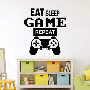 Gamer Controller Wall Decal, Eat Sleep Repeat Quote DIY Game Wall Stickers Controller Video Game Wall Decals for Kids Bedroom Living Room Vinyl Wall Art Decals (Eat Sleep Game Repeat)