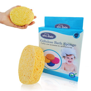 Sevi Baby Cellulose Bath Sponge,100% All Natural Pure Baby Bath Sponge, Biodegradable, Hypoallergenic, Soft and Absorbent Sponge For Baby's Skin, Made in Turkey (Orange)