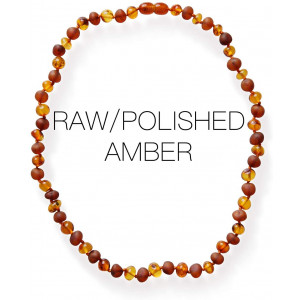 Meraki Adult Amber Necklace - Polished/Raw Mix Baroque Baltic Amber Necklace | All Natural Pain Relief for Adults to Help Migraines, Sinuses, Arthritis and More | Cognac Color (18 Inches)
