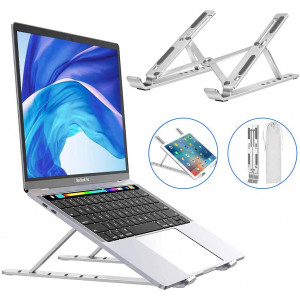 Laptop Stand,Adjustable Aluminum Laptop Holder Computer Tablet Stand,Ergonomic Foldable Portable Desktop Stand Holder Compatible with MacBook Air Pro/Dell XPS/HP/Lenovo, More 10-15.6 Laptops