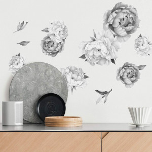 Peony Watercolor Wall Decals (Black and White Watercolor) - Peony Decor Flowers Wall Decals