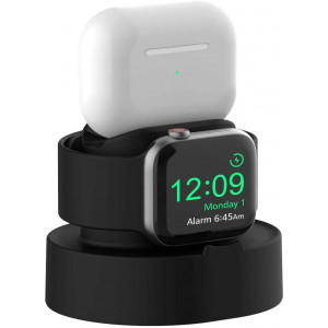 Sokusin Easy Install Charger Stand for Apple Watch 38mm 40mm 42mm 44mm iWatch 1 2 3 4 5, Apple Watch Charging Stand Holder and Night Stand Mode, AirPods Pro Charger Dock,BlackCables NOT Included