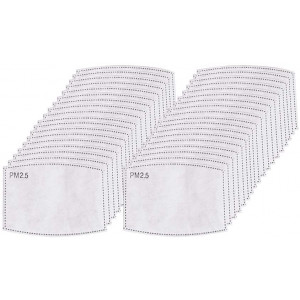 50 PCS Adult PM2.5 Activated Carbon Filter,5 Layers Replaceable Anti Haze Filter Paper