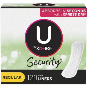 U by Kotex Lightdays Panty Liners, Regular, 129 Count