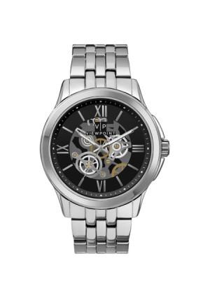 Viewpoint by Timex Men's 42mm Black Dial Watch, Silver-Tone Bracelet
