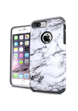 MUNDAZE White Grey Marble Design Case For Apple iPhone 7 8 Phone