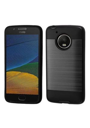 Black Brushed Metal Double Layered Case For Motorola Moto E4 Phone