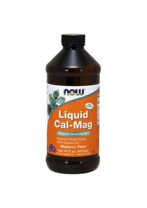NOW Foods Vegetarian Liquid Cal-Mag Bone Health Support, Blueberry, 16 Fl Oz