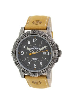Timex Men's Expedition Rugged Metal Field Watch, Tan Leather Strap