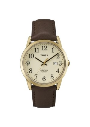 Timex Men's Easy Reader Gold-Tone Watch, Brown Leather Strap