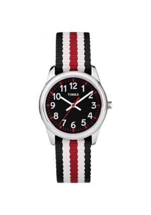 Timex Boys Time Machines Analog Metal Watch, Black/Red Stripes Nylon Strap