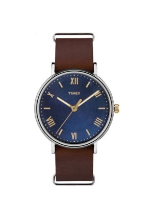 Timex Men's Southview 41 Blue/Silver-Tone Watch, Brown Leather Strap