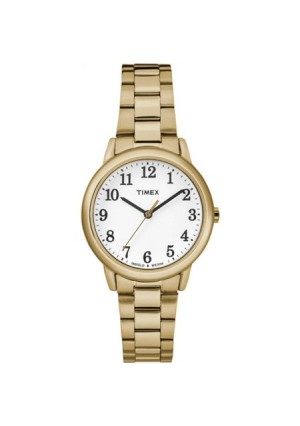 Timex Women's Easy-Reader White Dial Watch, Gold-Tone Stainless Steel Bracelet