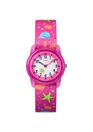 Timex Girls' Time Machines Pink Sea Watch, Elastic Fabric Strap