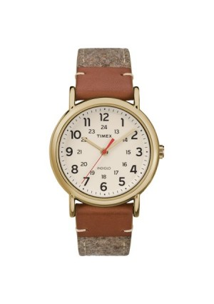 Timex Unisex Weekender Tan/Brown/Cream Watch, Fabric & Leather Strap