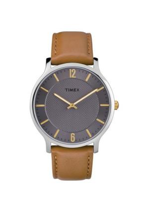 Timex Men's Metropolitan 40mm Brown/Gray Watch, Leather Strap