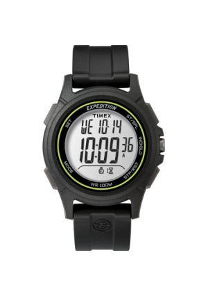 Timex Men's Expedition Baseline Digital CAT Black/Green Watch, Resin Strap