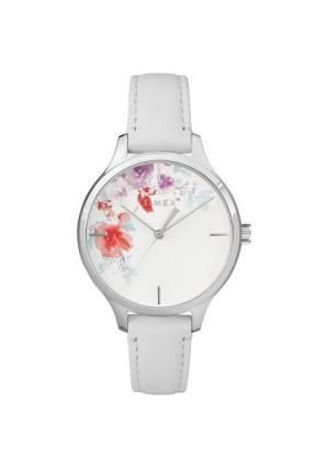 Timex Women's Crystal Bloom White/Silver Floral Accent Watch, Leather Strap