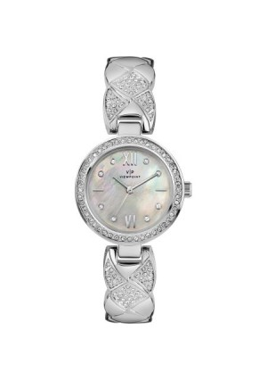 Viewpoint by Timex Women's 30mm Mother-of-Pearl Dial Watch, Silver-Tone Bracelet