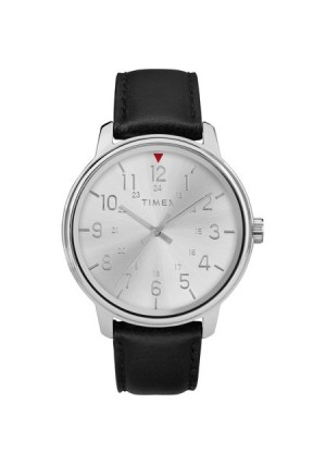 Timex Men's Core 43mm Silver-Tone Watch, Black Leather Strap