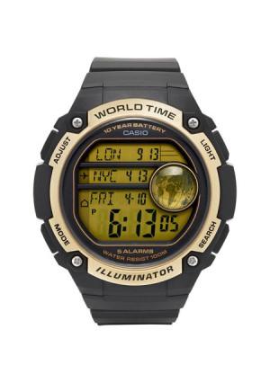 Casio Men's World Time Watch, Black/Gold