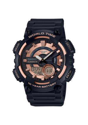 Casio Men's AEQ110W-1A3V World Time Telememo 30 Watch, Black Resin Strap