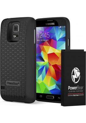 PowerBear Samsung Galaxy S5 [Extended Series] - 7800mAh Extended Battery with Bare Black Back Lid Cover - Compatible with i9600, G900T (T-Mobile), G9