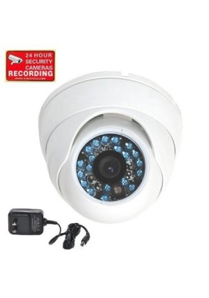 VideoSecu Day Night Vision CCTV Infrared Home Security Camera Color CCD Outdoor Vandal Proof 480TVL 3.6mm Wide View Angle Lens with Free Power Supply