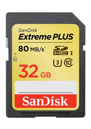SanDisk Extreme Plus 32GB UHS-1/U3 SDHC Memory Card Up To 80MB/s, Frustration-Free- SDSDXS-32GB-AFFP (Label May Change)