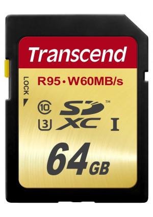 Transcend 64 GB High Speed 10 UHS-3 Flash Memory Card 95/60 MB/s (TS64GSDU3)